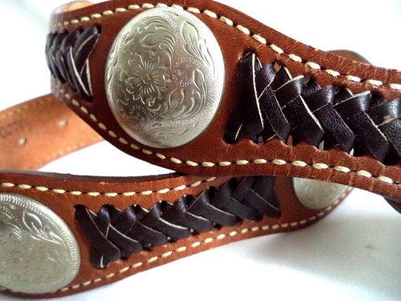 Belt vintage 70s Signed Western Tan Leather Boho by MushkaVintage3