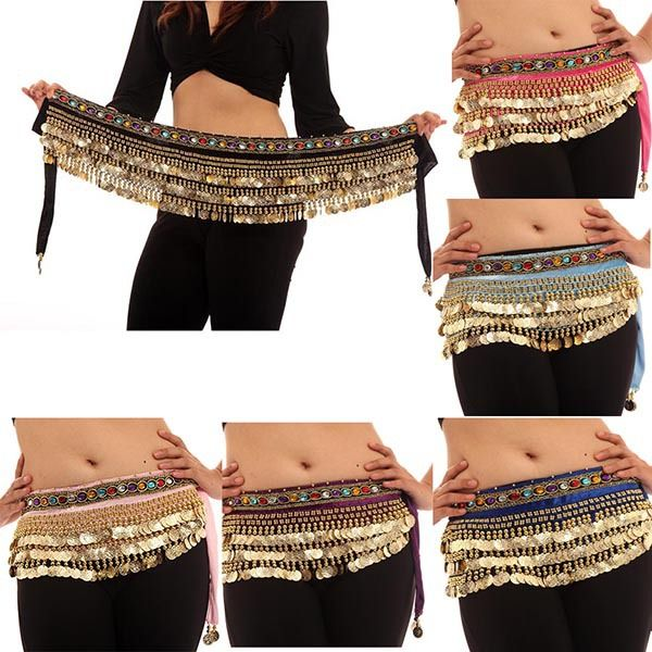 Hi-Q Belly Dance Costumes 248 Coins Velvet Hip Scarf Wrap Belt Women Skirt Dancewear Free&DropShipping