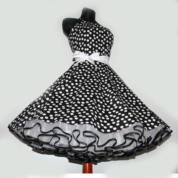 50er Jahre Kleid z. Petticoat schwarz weiße Punkte - lolablossom - Kleider - Mode - DaWanda