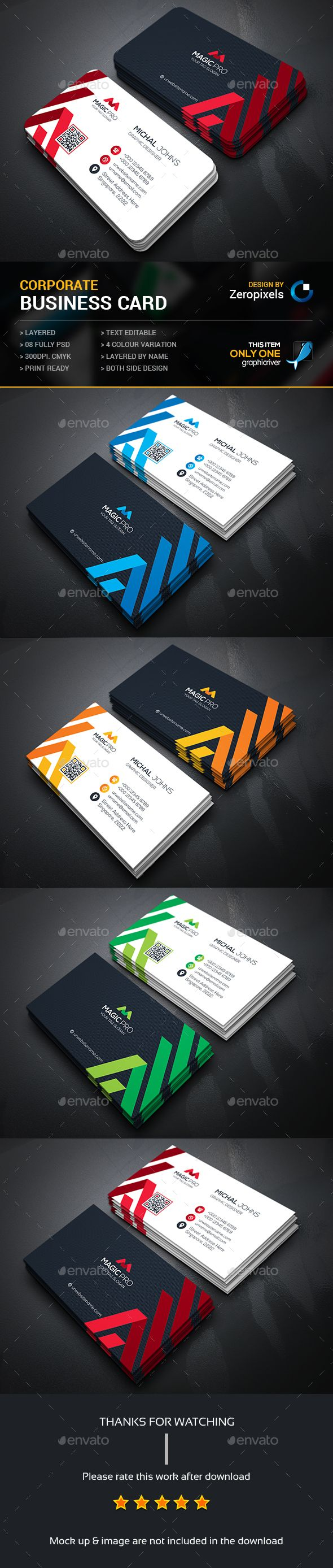 Buy Modern Business Card By Zeropixels On GraphicRiver FEATURES Easy Customizable And Editable In With Bleed CMYK Color Design 300 DPI
