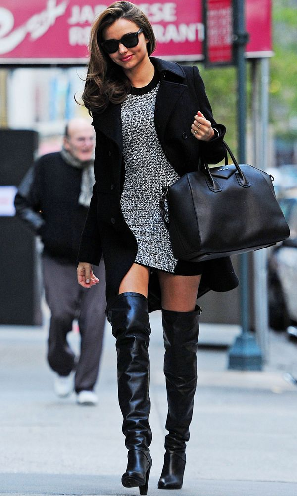 Textured dress with knee high boots by Hermes and bag by Givenchy | Miranda Kerr