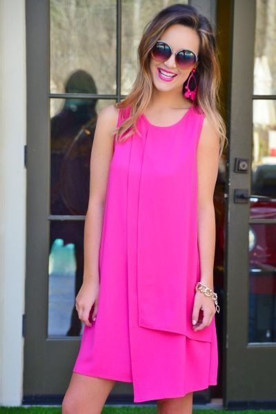 Elizabeth Panel Dress, Pink :: NEW ARRIVALS :: The Blue Door Boutique