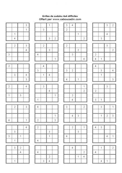 grille-4x4-niveau-difficile-page-6   sudoku   Pinterest