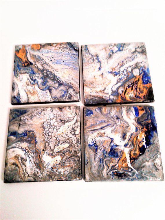 Handmade Acrylic Fluid Art Pour Painted Ceramic Tile