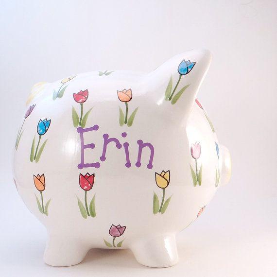 #TulipPiggyBank  #PersonalizedPiggyBank  #NatureBank by #ThePigPen #mothersdaygift