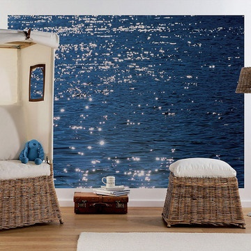 I have this in my Master bedroom of my beach house which is very modern overall - Stelle di Mare Wall Mural.
