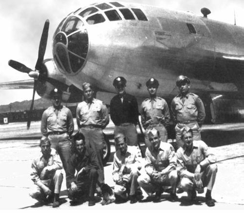 "The Bockscar and its crew, who dropped the ""Fat Man"" bomb on Nagasaki."