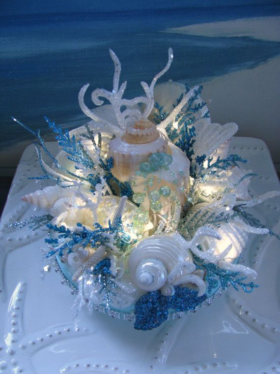 Seashell Coral Reef Light Up Wedding Cake Topper~designed by CeShoreTreasures~