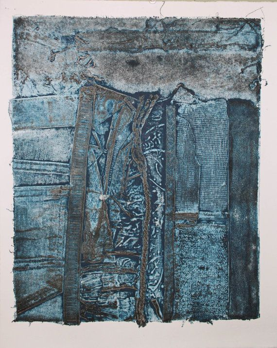 Childhood Textures Collograph Print - Marks of Fibers by Lines In Time