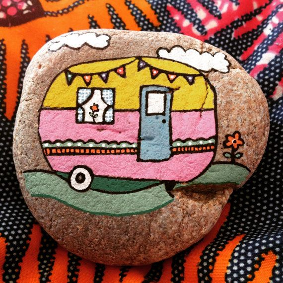 Hand Painted Beach Pebble Caravan by ThembaPebbles on Etsy
