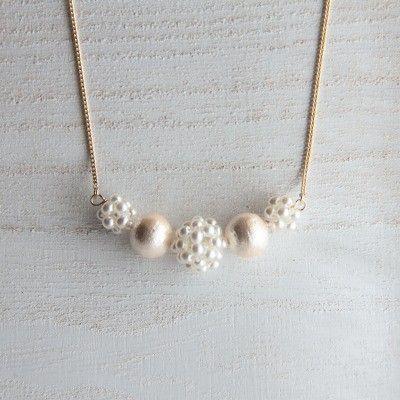 コットンパールのネックレス (white×cream)|shelly