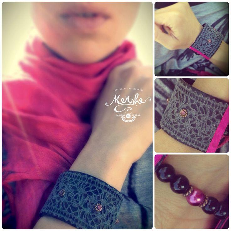 Memshe Lifewear/ black leather/ pink