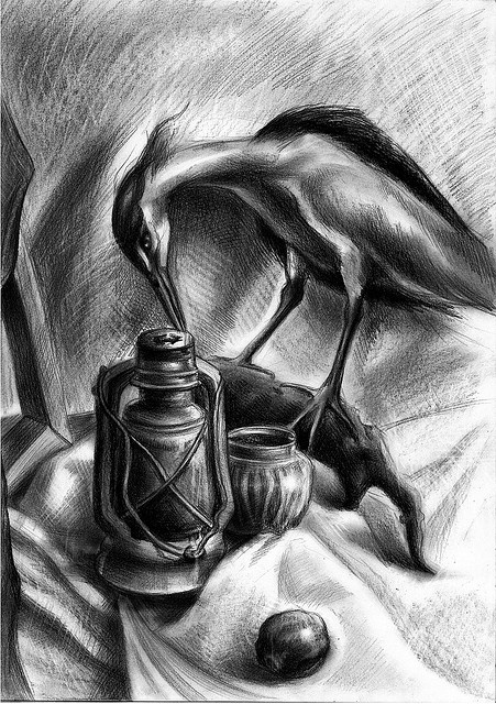 Charcoal still-life drawing with bird  by kelvinzhang87@flickr, via Flickr