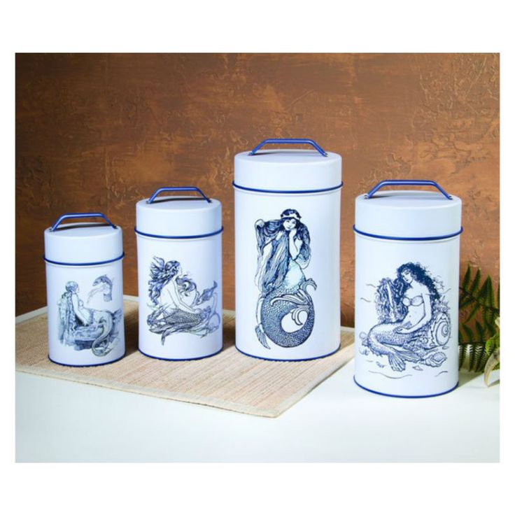 Set Of 4 Cylindrical Tin Canisters Lined For Food Safety And Ing Lids Screenprinted Durable Labels Mermaid In Beautiful Ocean Blue