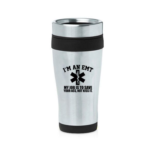 16 Oz Stainless Steel Insulated Travel Mug Coffee Tea Cup Emt Job Is... ($15) ❤ liked on Polyvore featuring home, kitchen & dining, drinkware, black, drink & barware, home & living, mugs, stainless travel mug, stainless mug and purple tea cups