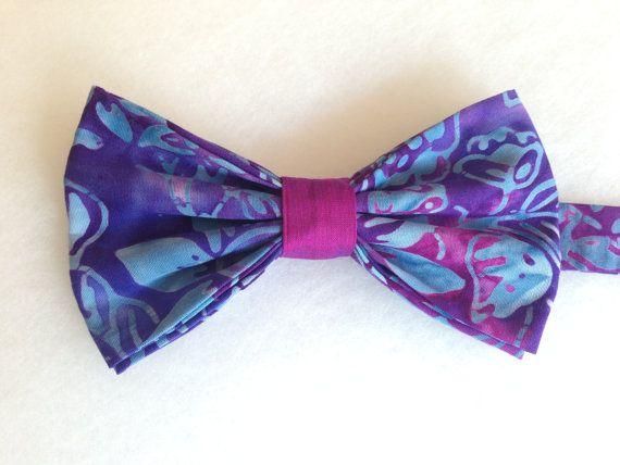 Batik Print Bow Tie Blue & Purple Batik Bow Tie Bow by WatfordTies