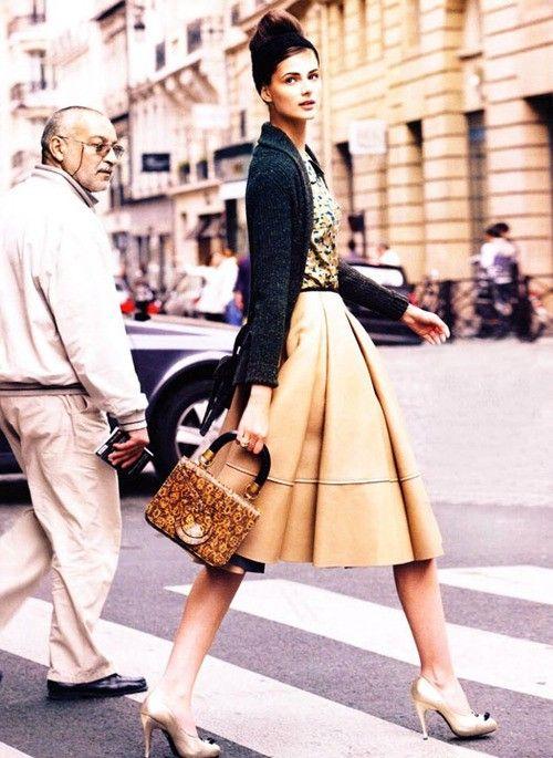 camel skirt  +  gold pumps