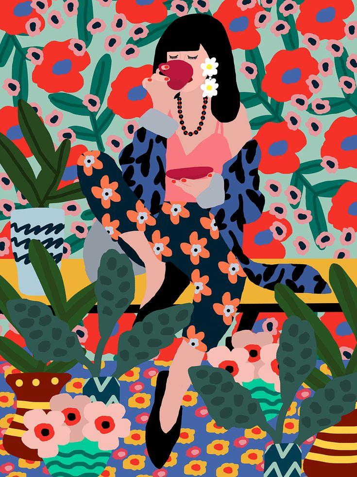 Girl Drinking Tea Poster | Studio Grand-Père