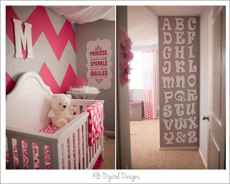 I'm crazy about the grey, white, and hot pink colors together. I want to do the play room in grey and white with pops of hot pink and turquoise.