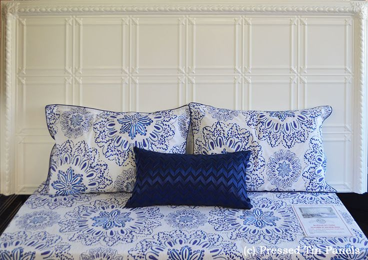King size assembled Pressed Tin Panels bedheads features the Maddington pattern, Egg Border and corner Rosette. This one has been spray painted white (example only)