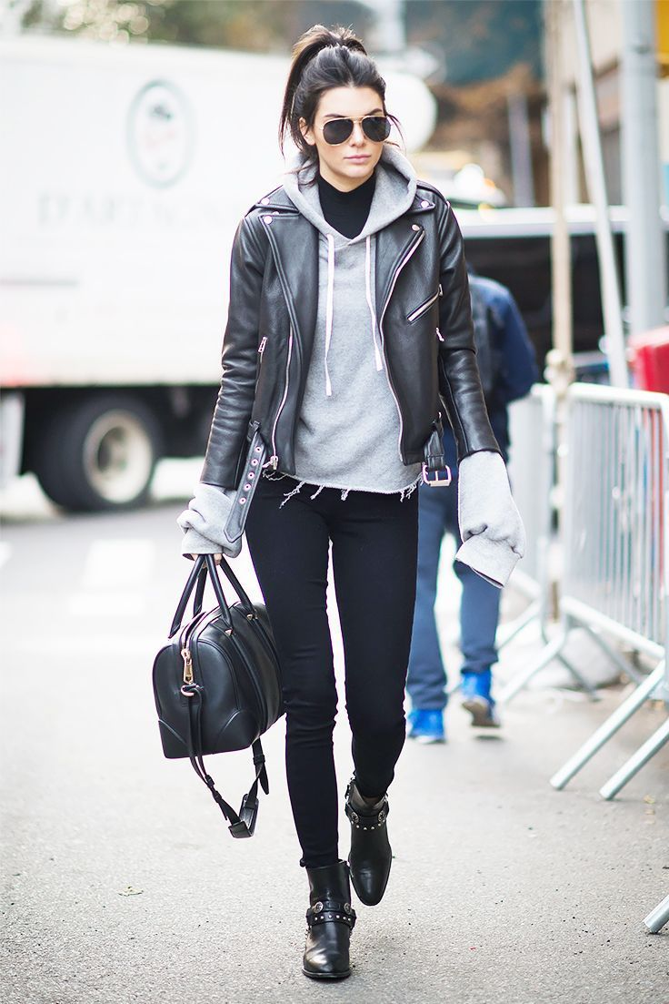 Kendall Jenner In Rayban Aviator Sunglasses Leather Jacket Street Style Outfits With Leggings Womens Winter Fashion Outfits [ 1103 x 736 Pixel ]
