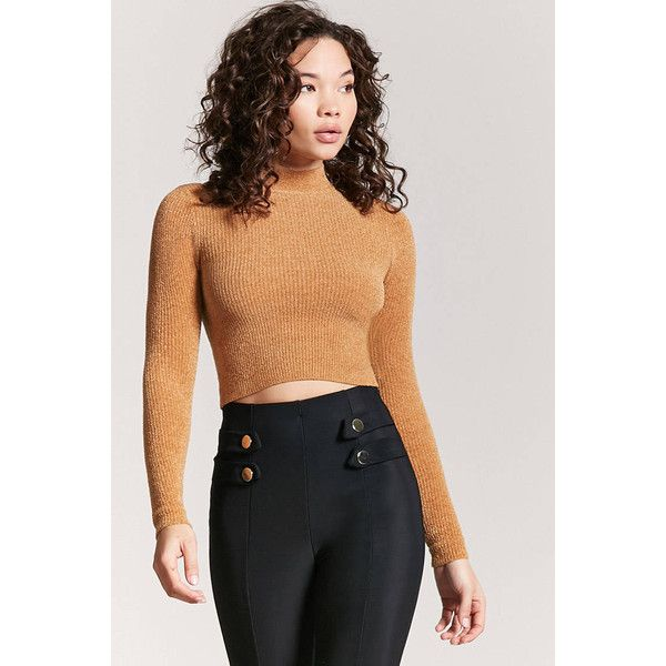 Forever21 Chenille Sweater-Knit Top (€10) ❤ liked on Polyvore featuring tops, sweaters, camel, crop top, forever 21 sweaters, ribbed knit sweater, extra long sleeve sweater and long sleeve crop sweater