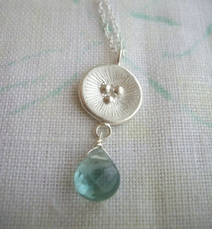 Poppy necklace,Original cast jewelry,original metal jewelry,silver smith,fluorite stone,briolette,fresh look,sterling silver necklace - pinned by pin4etsy.com