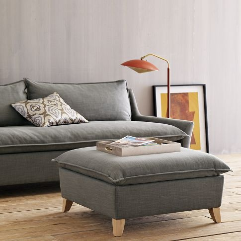 Bliss Ottoman and sofa: Grey Couch, Bliss Ottomans, Decor Ideas, Living Rooms, Leather Ottomans, Bliss Down Fil, Bliss Sofas, Bliss Downfil, West Elm
