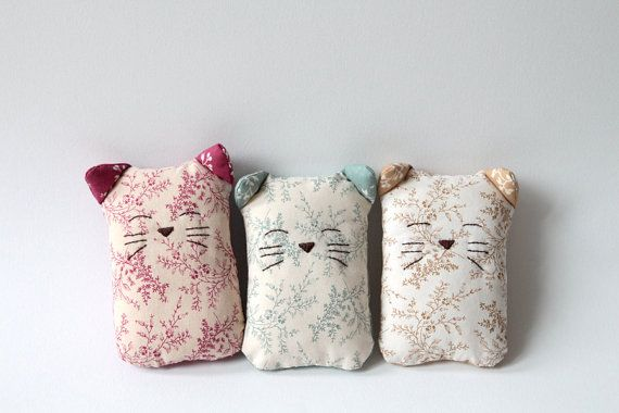 Sleepy cat softie toy or decoration by givemeacrown on Etsy, $14.00
