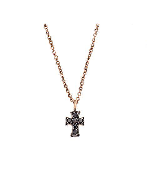 Κολιέ Ροζ Χρυσό 18Κ με Διαμάντια Αναφορά 022592 Ένα γυναικέιο κολιέ που μπορείτε να χαρίσετε σε μια γυναίκα .Αποτελείται από ένα μενταγιόν σταυρό πάνω σε μια αλυσίδα και είναι κατασκευασμένο από Χρυσό 18Κ σε ροζ χρώμα.Οι πέτρες που το διακοσμούν είναι πολύτιμες (διαμάντια) και έχουν χρώμα μαύρο.