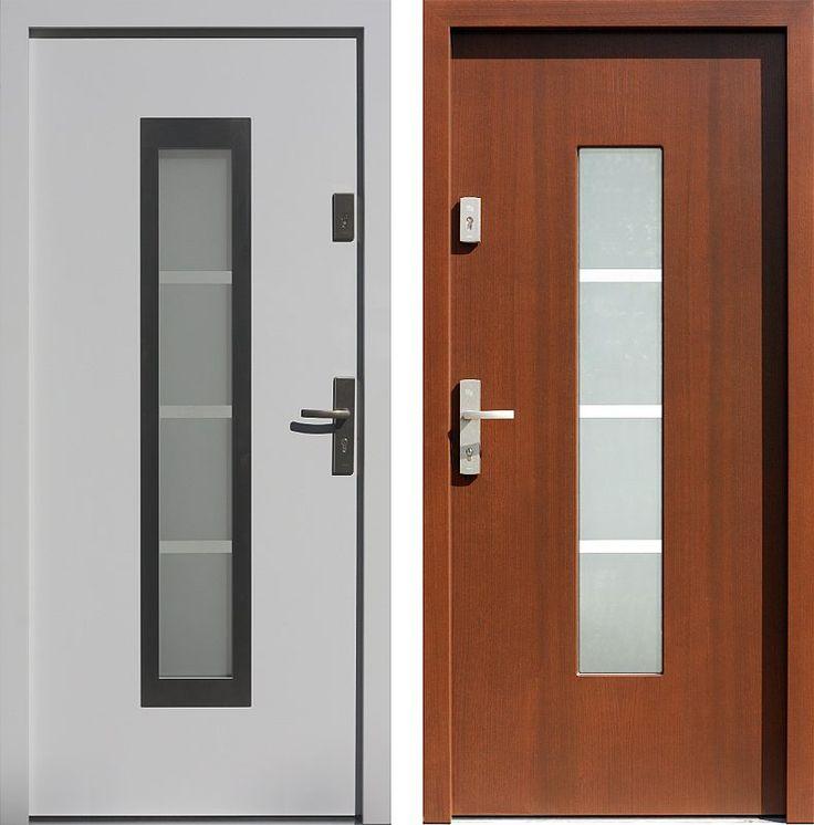 Drzwi wejściowe z aplikacjamii ze stali nierdzewnej inox wzór 499,3-499,12+ds1 białe + orzech