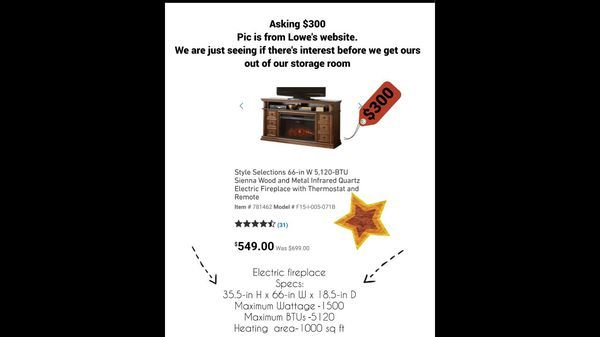 Large Electric Fireplace I made a Hollywood-style commercial with #letgocommercializer, check it out! http://us.letgo.com/en/v/ddf505c7-b581-4e15-92ab-08450729e676/