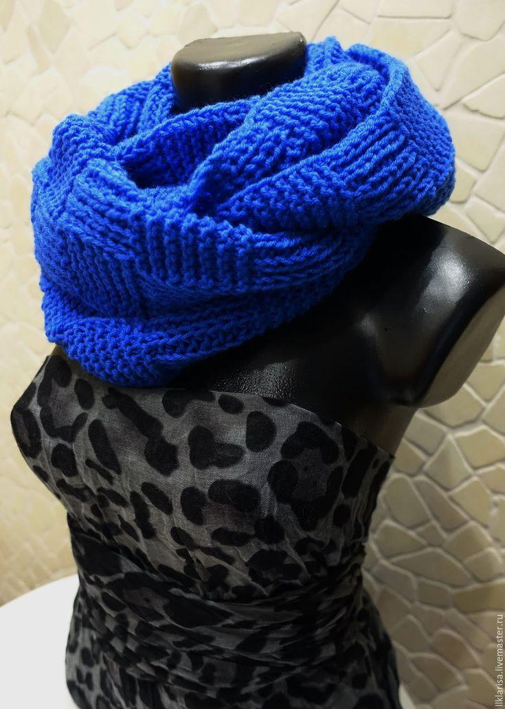 Купить шарф-снуд - синий, однотонный, шарф женский, шарф вязаный, снуд вязаный