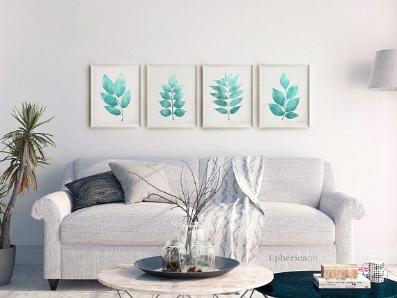 Four Piece Wall Art Printable Set 16x20 Of 4 Prints Turquoise Leaves