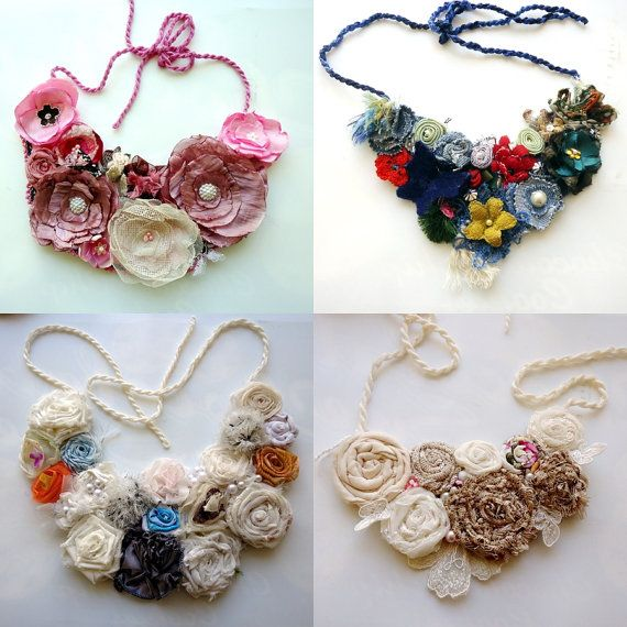 Beautiful Presents For Her Part - 48: Flower Bib Necklace Handmade Gift For Her Statement By Seragun
