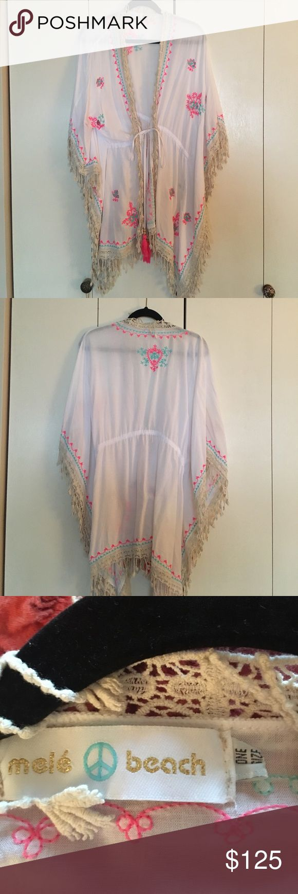 Mele beach dolman sleeve beach cover One size fits all embroidered and tassel Domin sleeve beach cover-up can also be worn with a pair of pants and a camisole purchased in the Dominican republic never worn mele beach Tops Tunics