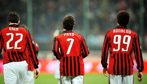 Kaka', a young Alexandre Pato, and Ronaldo at AC Milan