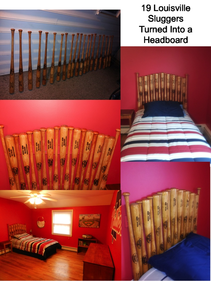 Amazing baseball bat headboard made from 19 Louisville Slugger bats. Thanks to the Louisville Slugger Factory for letting us stop by and pick up these beautiful bats for our project in Philadelphia.