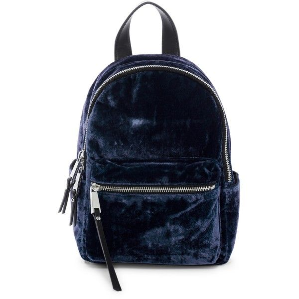 French Connection Perry Small Velvet Backpack ($40) ❤ liked on Polyvore featuring bags, backpacks and navy