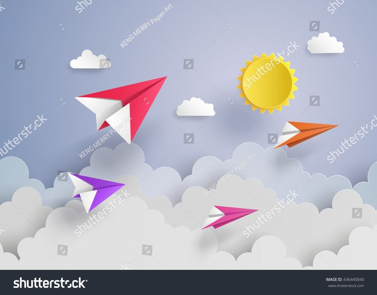 plane on blue sky with cloud.paper art style
