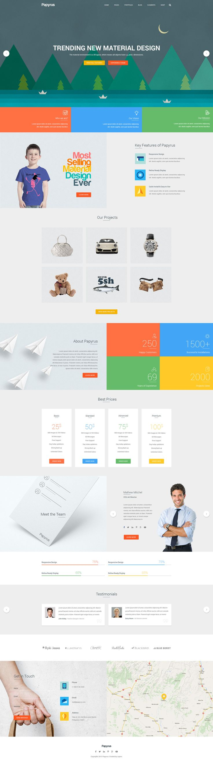 Papyrus - Material Design, Multipurpose Theme on Behance