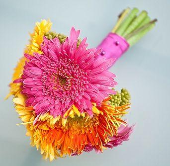 Gerbera Wedding Bouquets Hot Pink, Yellow & OrangeBouquet | Vibrant Gerbera at BunchesDirect