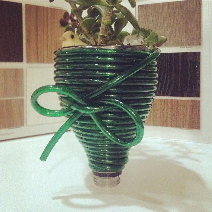 #dGreenSP #SpaghettiCollection #PluginBow #vasinho #sustentável #monomaterial e #funcional  #vaso para espetar na jardineira tb dá #parapendurar e é só abrir a #tampa para liberar a #água em excesso #byDaniLoren #designsustentável #Reuso  de #garrafa de #cocacola na estrutura #plantinha #suculenta #sustentavelcomestilo #sustainabledesignthinking #verde #plantas #ideiasdiferentes #laço #design #criatvidadeamil  www.dgreensp.org . Info@dgreensp.org