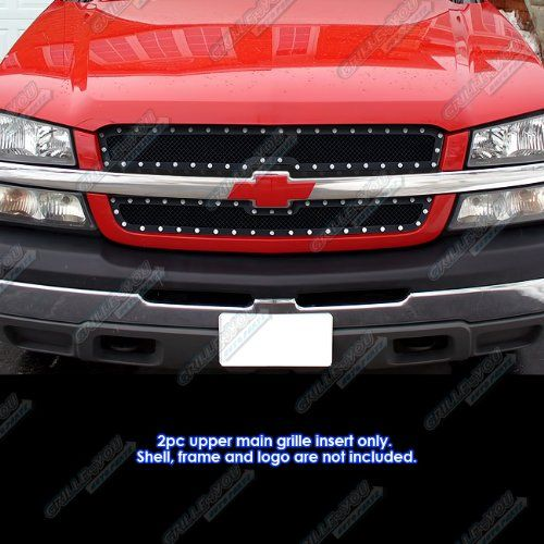 03-06 Chevy Avalanche/03-05 Silverado 1500/SS/03-04 2500 Rivet Mesh Grille Grill. For product info go to:  https://www.caraccessoriesonlinemarket.com/03-06-chevy-avalanche03-05-silverado-1500ss03-04-2500-rivet-mesh-grille-grill/