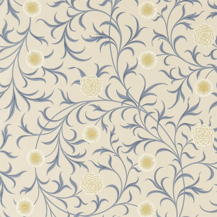 The Original Morris & Co - Scroll reflects William Morris's fascination with medieval book illustration and can be traced to the 1871 wallpaper design. Smaller in scale and more delicate than many of his other designs the gently meandering layout of leaves and marigold flowers on a clean background comes in a range of rich Morris colours.