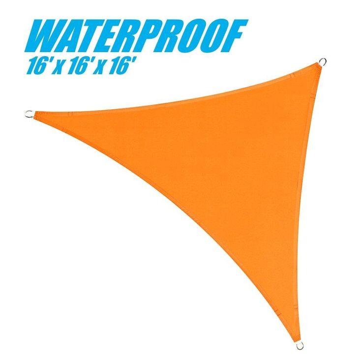 100% BLOCKAGE Waterproof 16' x 16' x 16' Sun Shade Sail Canopy Triangle Orange