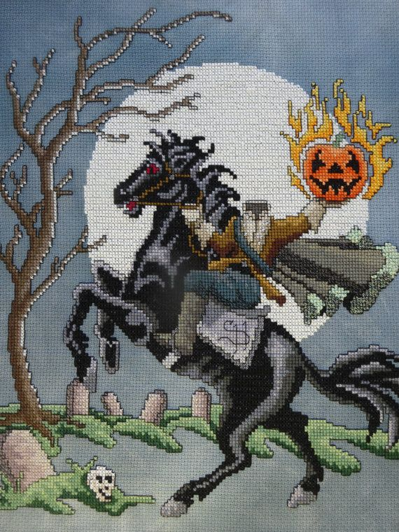 Headless Horseman Rides Again with Glow in the Dark Moon, Framed Needlepoint