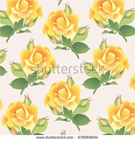 Pattern in pastel colors with a branch of yellow roses