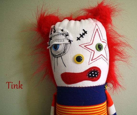 Tink the Clown Plush Art Doll By ThEm DoLLz by themdollz on Etsy, $70.00