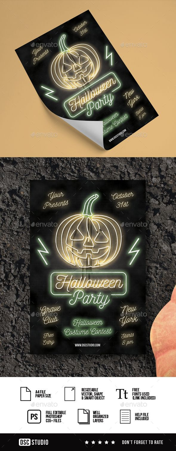 Neon Halloween Flyer — Photoshop PSD #leaves #Jack O' Lantern • Available here → https://graphicriver.net/item/neon-halloween-flyer/20724249?ref=pxcr